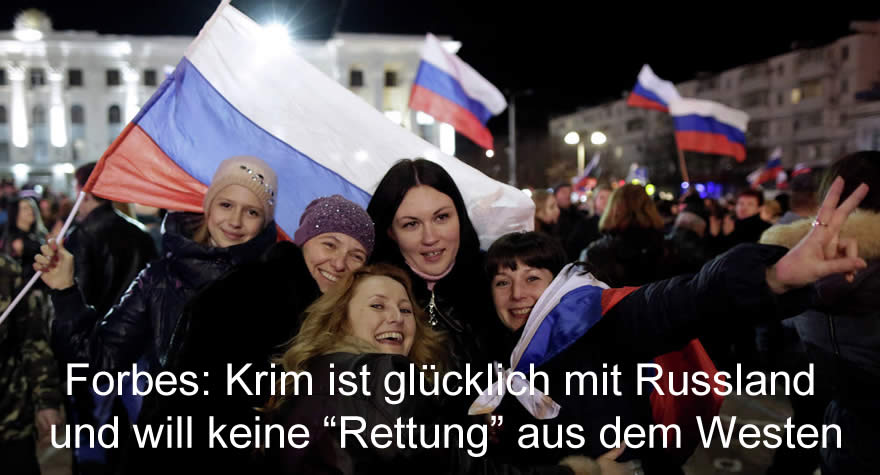 """Forbes: Krim ist glücklich mit Russland und will keine """"Rettung"""" aus dem Westen"""